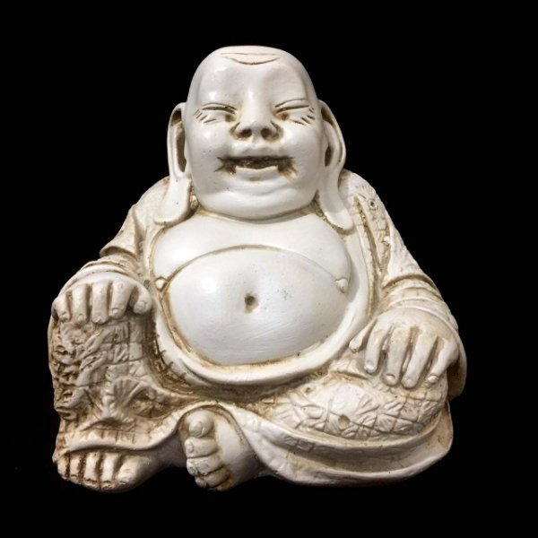 Buda Chines Sorridente da Riqueza Marfim 16cm