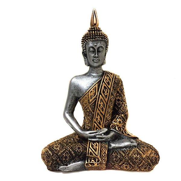 Estátua de Buda Hindu Resina Prateado e Dourado 21cm