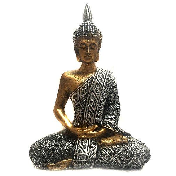 Estátua de Buda Hindu Resina Dourado e Prateado 21cm