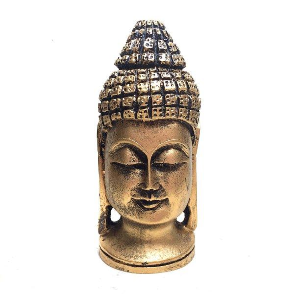Estátua de Cabeça de Buda Resina Dourada 15cm