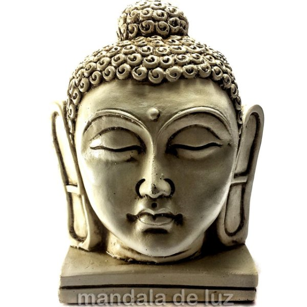 Estátua de Cabeça Buda Grande Resina Marfim 16cm