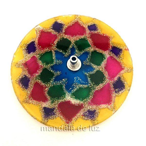 Incensário de Vidro de Mandala Borda Amarela