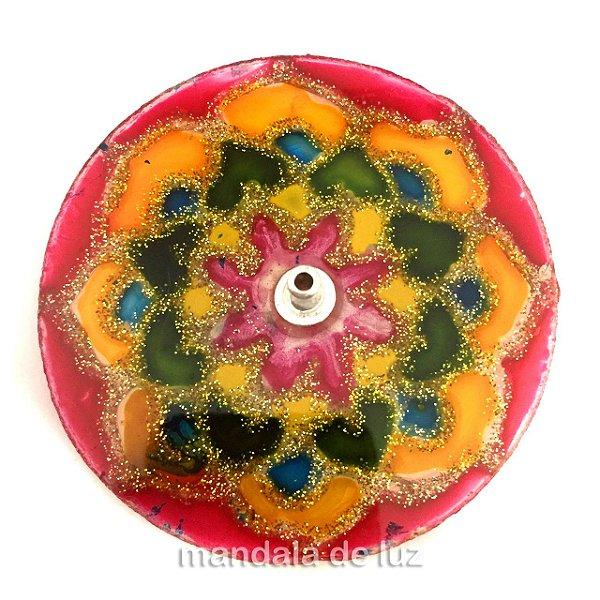 Incensário de Vidro de Mandala Borda Vermelha