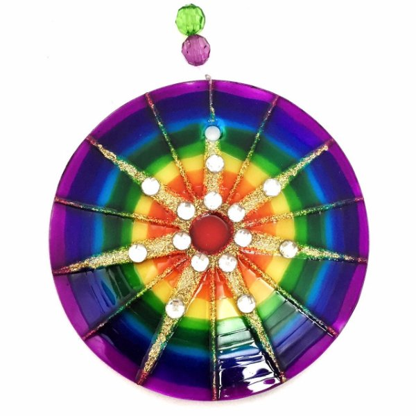 Mandala de Vidro Colorida 7 Raios 10cm - 619