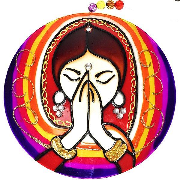 Mandala de Vidro Namastê 10cm - 739
