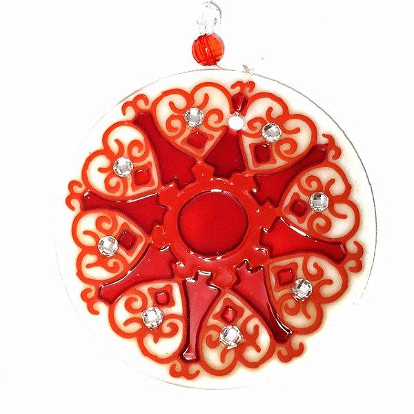 Mandala de Vidro Vermelha 10cm