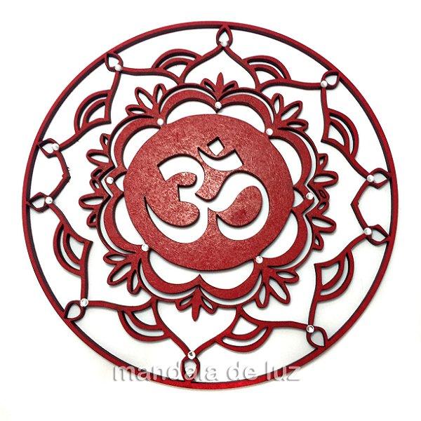 Mandala Mdf Vermelha do OM com strass