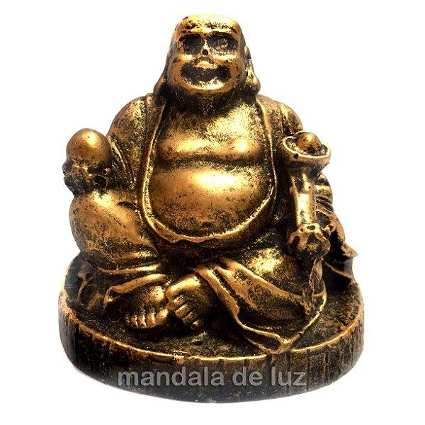 Estátua de Mini Buda Chinês Sorridente Riqueza com Base