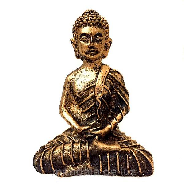 Estátua de Mini Buda Hindu Dourado Resina 9,5cm