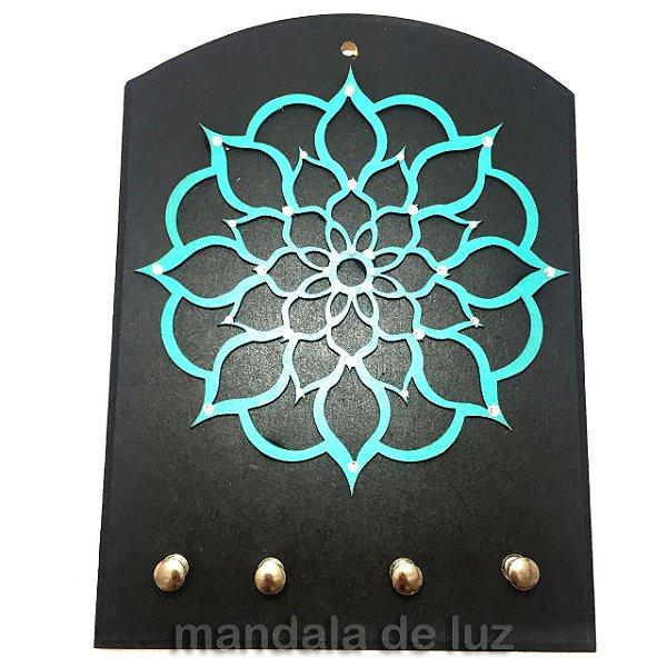 Porta Chaves Mandala Mdf Turquesa