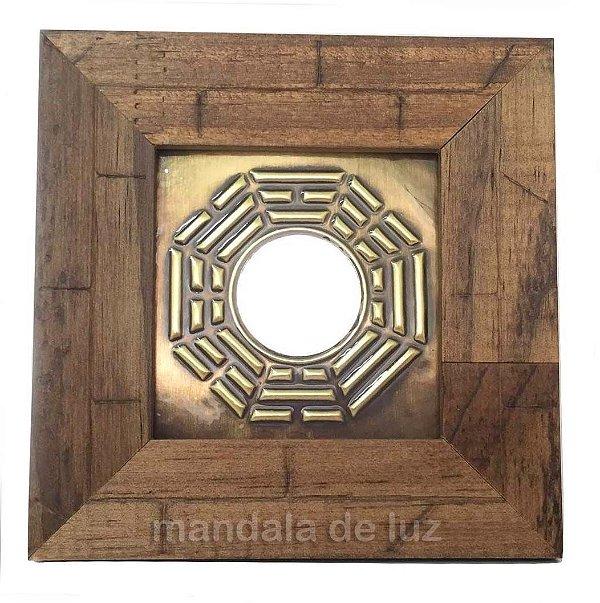 Quadro Baguá de Madeira Clara Espelho Quadrado 12cm 765