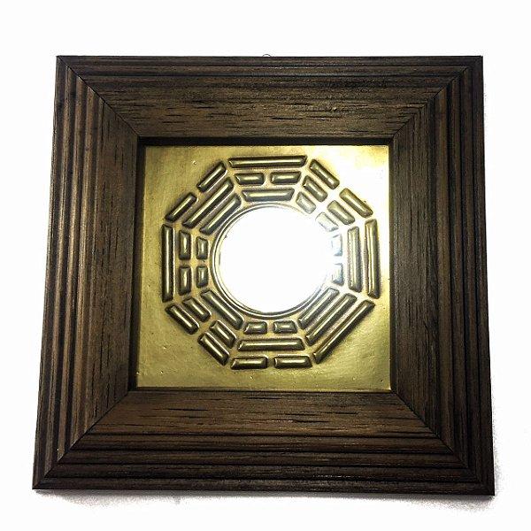 Quadro Baguá de Madeira Escura Espelho 12cm