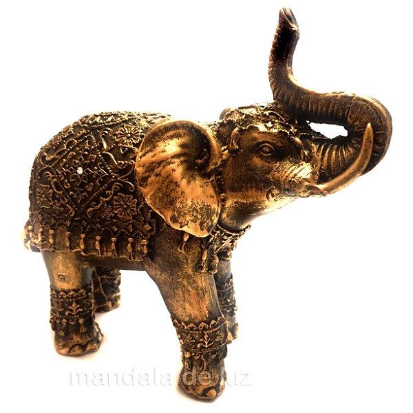 Estátua de Elefante Indiano Dourado Resina 19,5cm