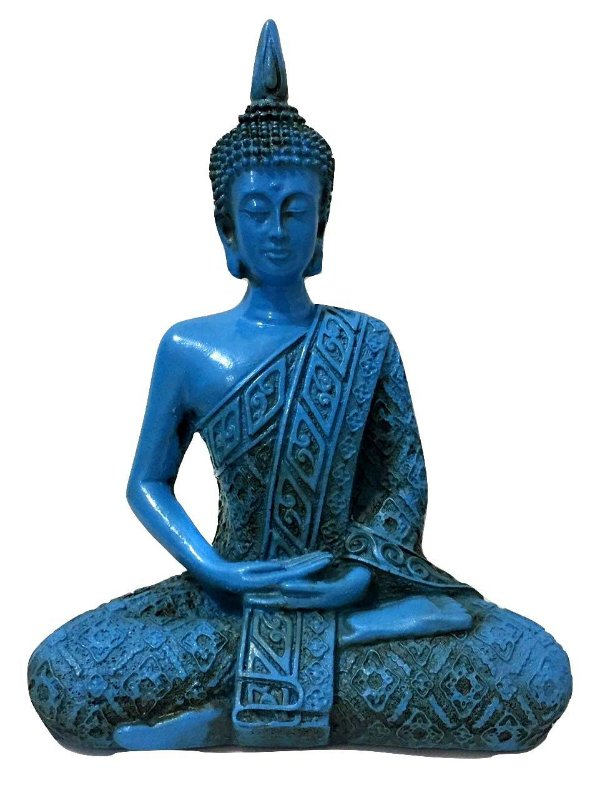 Estátua de Buda Hindu Resina Azul 21cm 418