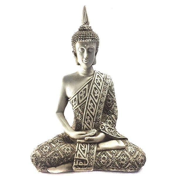 Estátua de Buda Hindu Resina Marfim 21cm