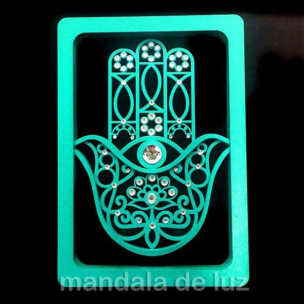 Mão de Hamsá ou Fátima 3D em MDF Verde Tiffany