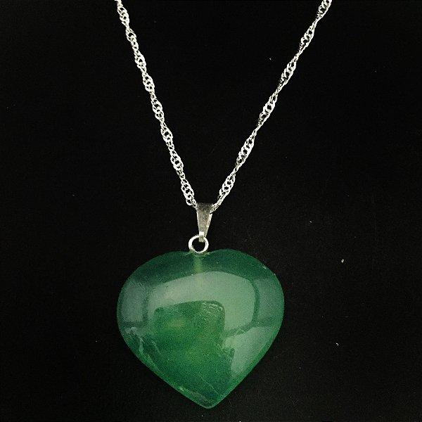 Colar Folheado Pedra Coração Ágata Verde