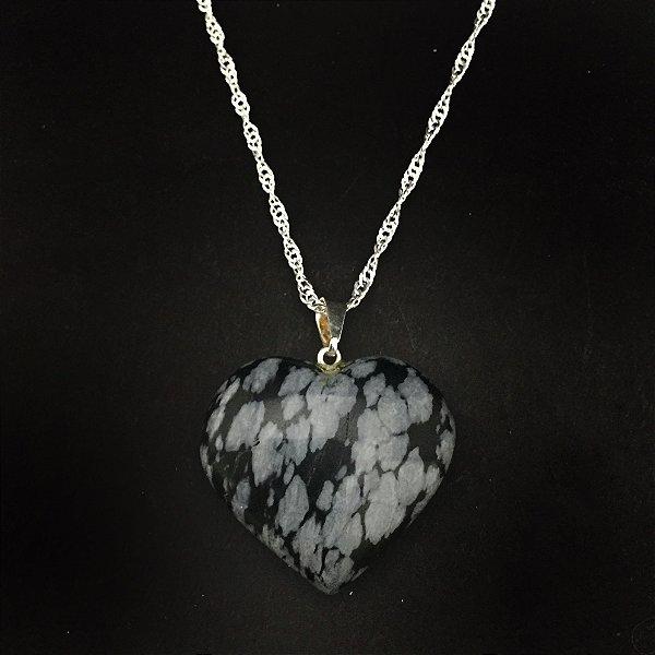Colar Folheado Pedra Natural Coração Obsidiana