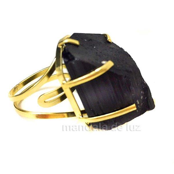 Anel de Turmalina Negra com Regulagem Dourado