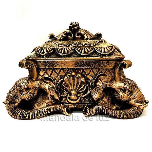 Porta-Joias de Estátua de Elefante Dourado 13cm