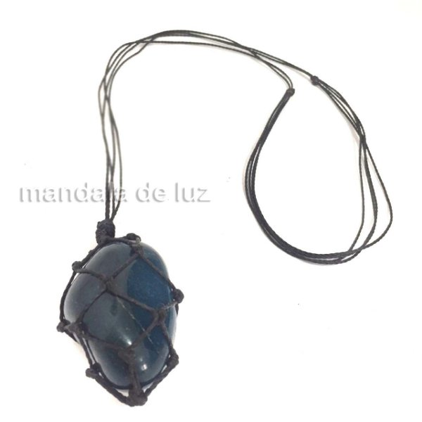 Colar de Pedra Castroada Ágata Azul