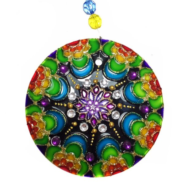 Mandala de Vidro Colorida Lua 10cm - 623