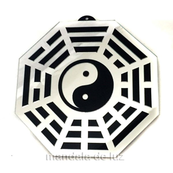 Baguá Yin Yang Acrílico Espelhado Prateado Preto 11,5cm