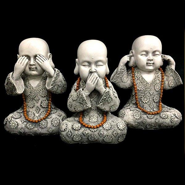 Trio de Estátuas Monge Buda Sábios Cego, Surdo e Mudo 23cm