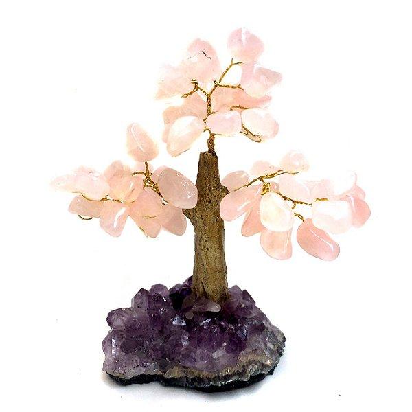 Árvore Cristais Quartzo Rosa com Drusa Ametista 14 cm