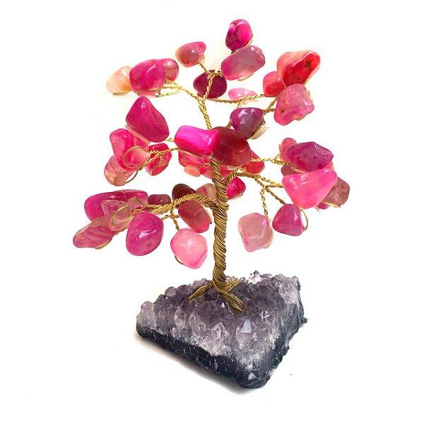 Árvore Felicidade de Pedras Ágata Rosa Pink com Drusa Ametista 10cm