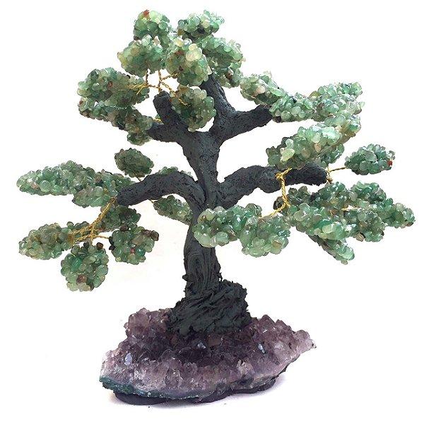Árvore de Quartzo Verde com Drusa Ametista 22cm