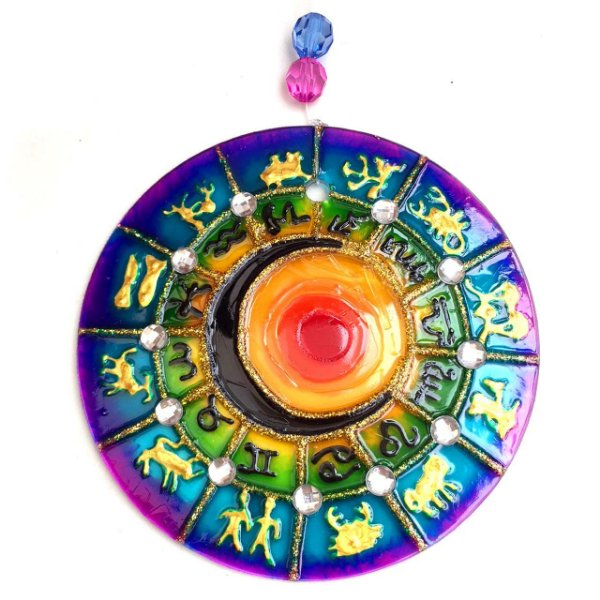 Mandala de Vidro Zodíaco de 10cm