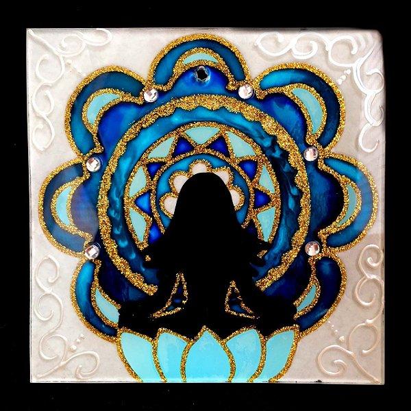 Placa de Vidro Yoga da Harmonia Quadrada 15x15cm