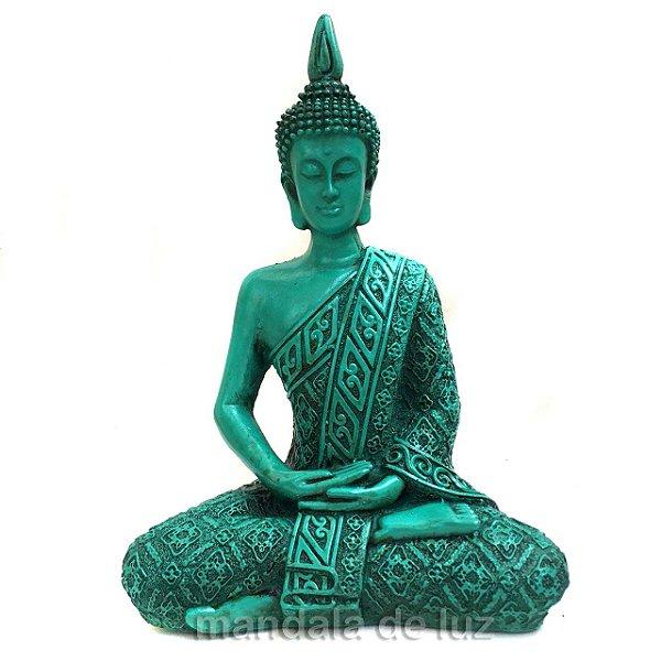 Estátua de Buda Hindu Resina Verde 21cm