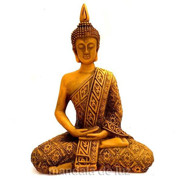 Estátua de Buda Hindu Resina Amarelo 21cm