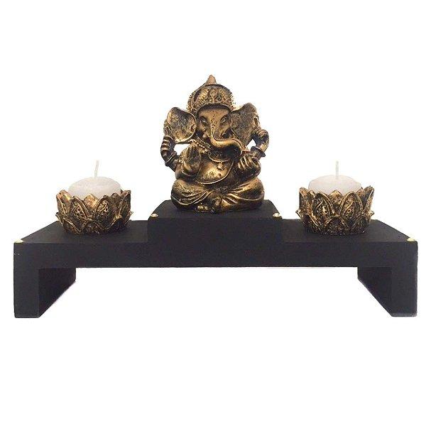 Altar com Castiçal e Incensário Estátua de Ganesha Dourado 16cm