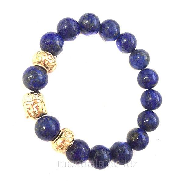 Pulseira de Esferas de Lápis Lazuli Buda Dourado