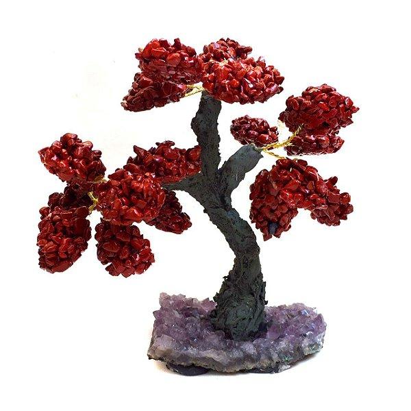 Árvore Cristais Jaspe Vermelho com Base de Drusa 15cm