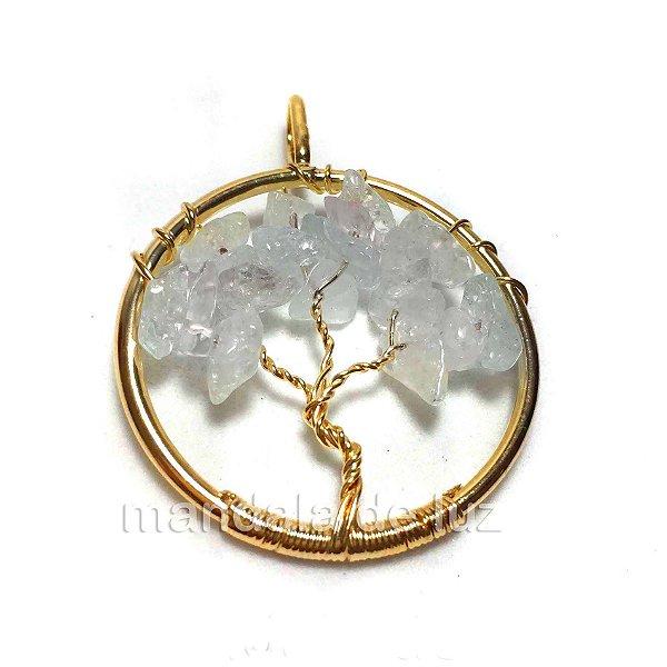 Pingente Dourado de Árvore Cristal Transparente