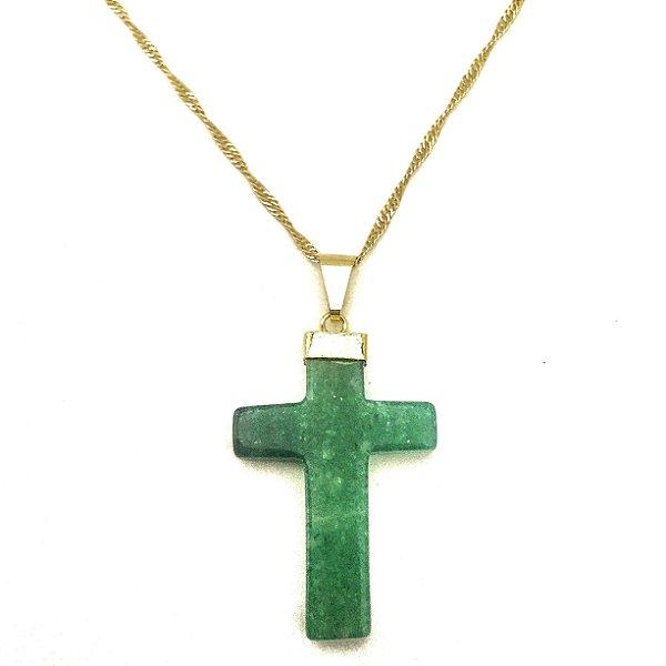 Colar Folheado Ouro Cruz de Quartzo Verde