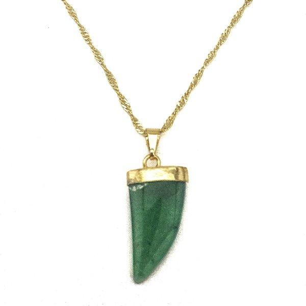Colar Folheado Ouro Dente de Dragão Quartzo Verde