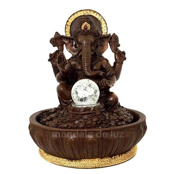 Fonte de Água Estátua de Ganesha Marrom 30cm