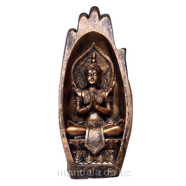 Estátua de Buda Hindu Palma da Mão Dourada 20cm