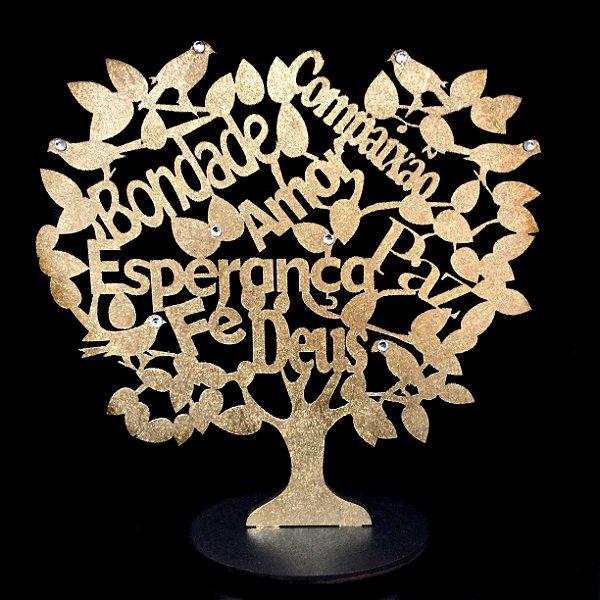 Árvore com Base Palavras MDF Dourada 13cm