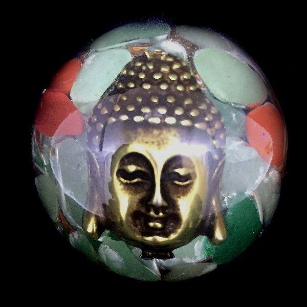 Orgonite Buda Quartzo Verde, Jaspe Vermelho e Pirita