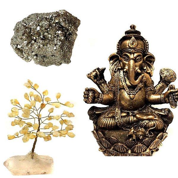 Kit Estátua de Ganesha + Árvore de Citrino + Pirita