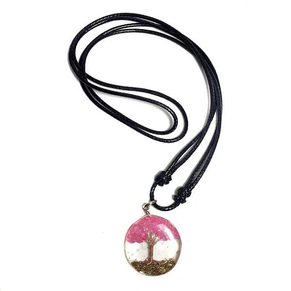 Colar Orgonite Árvore de Vida Quartzo Rosa Cobre
