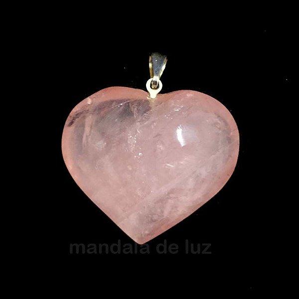 Pingente Prateado de Coração Pedra Quartzo Rosa - 286