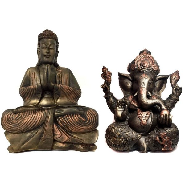 Kit Estátua de Ganesha Grande + Buda Hindu Grande Bronze