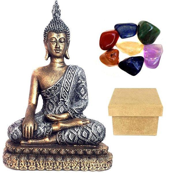 Kit Estátua de Buda + 7 Pedras dos Chakras + Caixa MDF